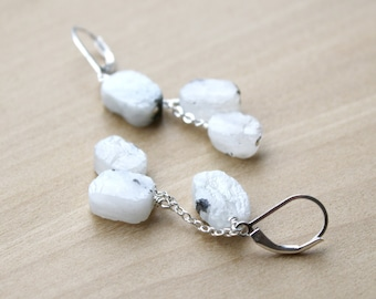 Raw White Moonstone Earrings in Sterling Silver for Strength and Good Fortune