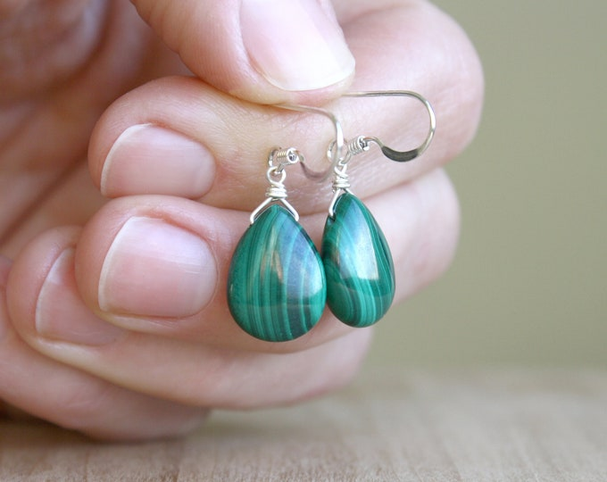 Featured listing image: Malachite Earrings for Negative Energy Protection and Transformation