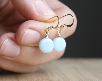 Amazonite Earrings in 14k Gold Fill for Anxiety Relief and Positive Energy NEW