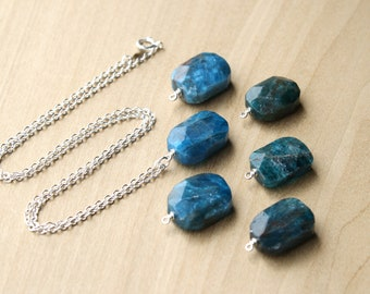 Natural Apatite Necklace in Sterling Silver for Motivation and Willpower NEW