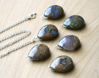 Brown Stone Necklace Silver . Rhyolite Necklace . Polished Gemstone Teardrop Necklace Pendant NEW