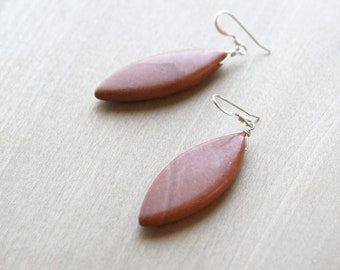 Red Jasper Earrings in Sterling Silver for Grounding and Strength