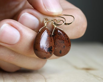 Mahogany Obsidian Earrings for Strength and Protection