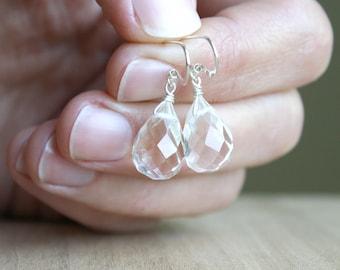 Clear Quartz Earrings Dangle . Faceted Quartz Crystal Earrings . Healing Gemstone Teardrop Earrings