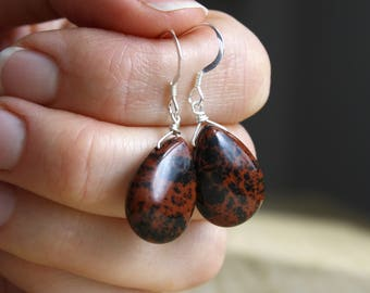 Mahogany Obsidian Earrings . Crystals for Strength