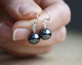 Hematite Earrings . Healing Stone for Anxiety Relief