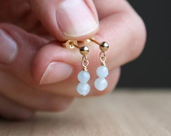 Natural Aquamarine Studs in 14k Gold Fill for Dedication and Determination