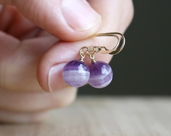 Chevron Amethyst Earrings for Protection and Focus