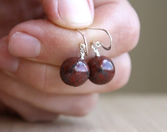 Red Jasper Sphere Earrings in Sterling Silver for Grounding and Comfort NEW
