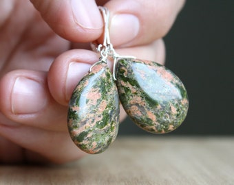 Unakite Earrings in Sterling Silver for Emotional Resilience and Calm NEW