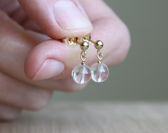 Clear Quartz Studs for Harmony and Good Fortune NEW