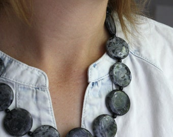 Larvikite Beaded Necklace . Stones for Confidence