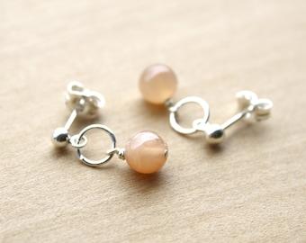 Peach Moonstone Earrings Studs for New Beginnings and Inner Strength