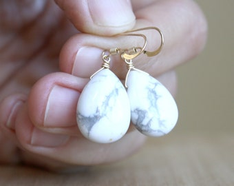 White Howlite Earrings in 14k Gold Fill for Calm and Self Expression