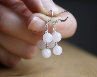 Rose Quartz Earrings in Sterling Silver for Unconditional Love NEW