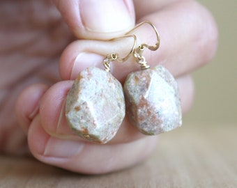 Unakite Earrings for Patience and Insight