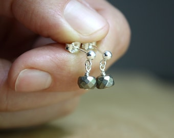 Pyrite Earrings Studs . Positive Energy Jewelry NEW