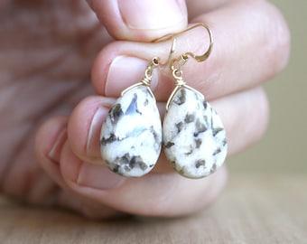 Zebradorite Earrings in 14k Gold Fill for Manifestation and Increasing Energy