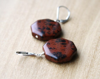 Mahogany Obsidian Earrings for Strength and Grounding