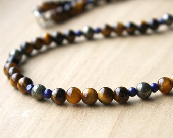 Tiger Eye, Lapis Lazuli, and Pyrite Necklace for Courage and Speaking Your Truth