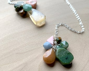 Personal Intention Necklace with Natural Stones and Sterling Silver NEW