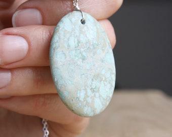 Aqua Terra Jasper Pendant Necklace . Stones for Grounding