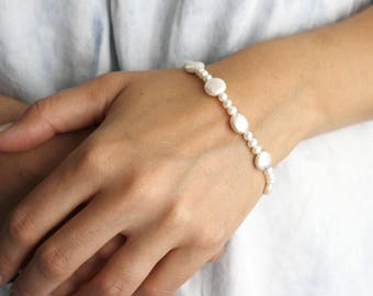 White Freshwater Pearl Bracelet with a Sterling Silver Toggle Clasp