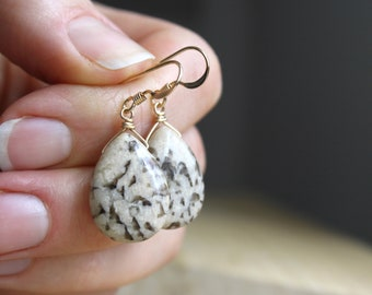 Silkworm Jasper Earrings in 14k Gold Fill