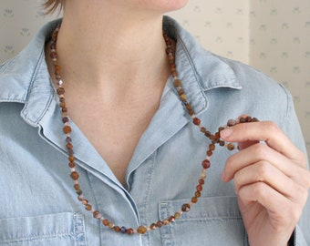 Mexican Agate Bead Necklace Long . Red Agate Necklace for Women . Multi Gemstone Beaded Wrap Necklace NEW