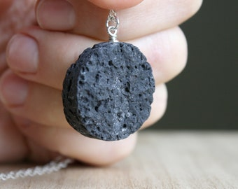 Lava Stone Diffuser Necklace in Sterling Silver for Grounding and Stress Relief