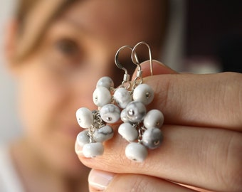 White Howlite Earrings . Calming Stone Jewelry