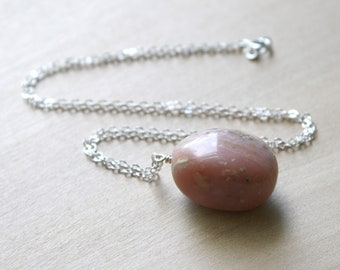 Natural Pink Opal Necklace for Independence and Originality