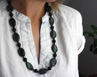 Kambaba Jasper and Black Onyx Necklace . Gemstones for Protection