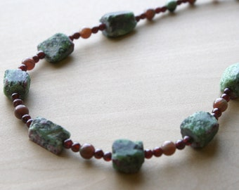 Ruby Zoisite Necklace for Abundance and Confidence