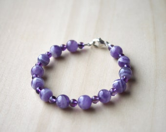 Chevron Amethyst Bracelet for Protection and Focus