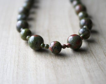 Natural Unakite Necklace for Positivity and Emotional Resilience NEW