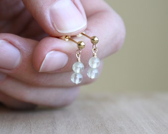 Prehnite Studs in 14k Gold Fill for Harmony and Peace NEW
