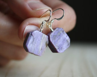 Charoite Earrings for Transformation and Emotional Healing NEW