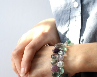 Rainbow Fluorite Bracelet . Mental Health Jewelry