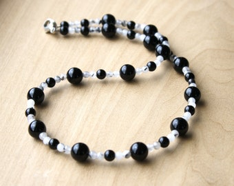 Black Onyx and Tourmalinated Quartz Necklace for Strength and Positive Energy