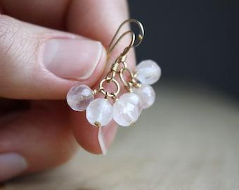Rose Quartz Earrings Gold