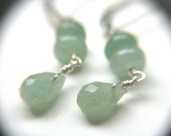Green Aventurine Earrings . Calming Jewelry