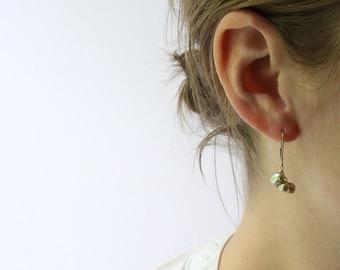 Pearl Leverback Earrings in Gold