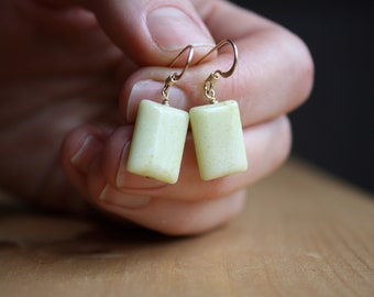 Yellow Jade Earrings in 14k Gold Fill for Success and Prosperity NEW
