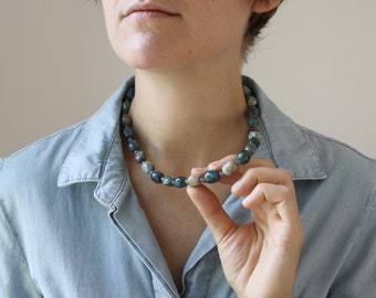 Natural Apatite and Labradorite Necklace for Willpower and Motivation