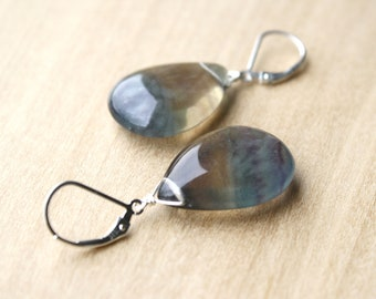 Rainbow Fluorite Earrings for Negative Energy Protection and Concentration NEW