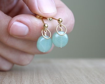 Green Aventurine Earrings Studs for Prosperity and Strength NEW