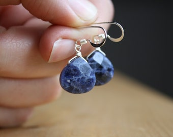 Sodalite Earrings in Sterling Silver for Creativity and Intuition