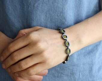 RESERVED Calming Jewelry . Hematite Bracelet and Olive Jade Bracelet