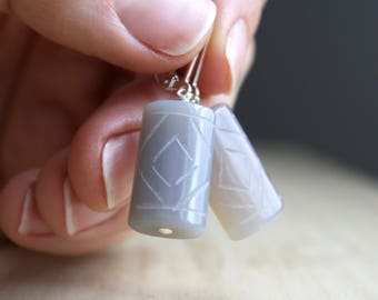 Gray Onyx Earrings . Stress Relief Gifts for Women . Calming Stone Jewelry